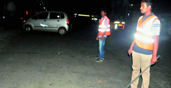 Students help cops in patrolling at Nellore