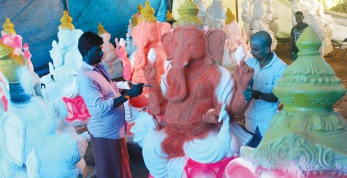 Idols get ready for Ganeshotsav in Palakkad