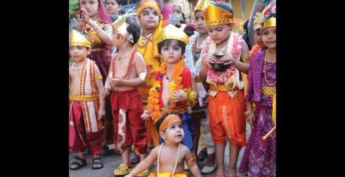 Krishna versus Chattampi Swamikal on street in Kerala