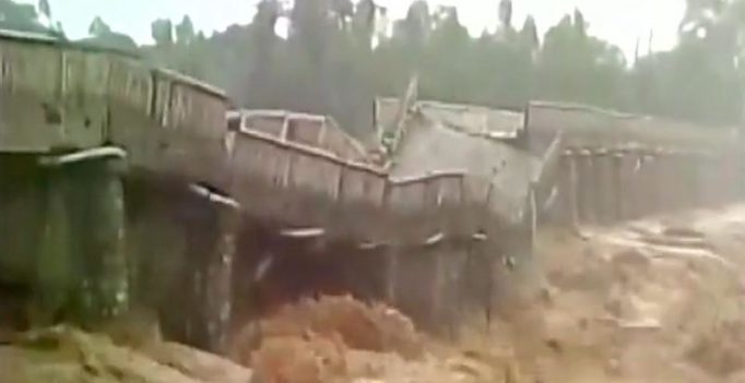 Dramatic video captures terrifying moment a bridge collapses in Himachal Pradesh