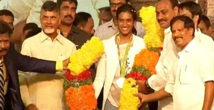 Watch: Chandrababu Naidu tries his hand at badminton with Olympic medallist Sindhu