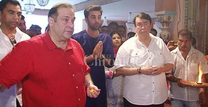 Snapped: Ranbir along with Randhir and Rajiv Kapoor seek blessing from Ganesha