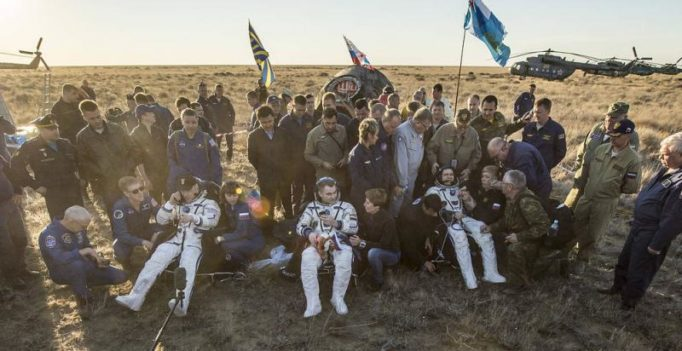 Happy landings: 3 space station crew members back on Earth