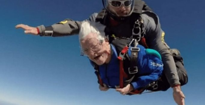 Video: Daredevil grandma does skydiving stunt on 95th birthday
