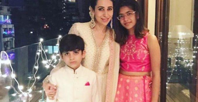 Karisma Kapoor and her kids Samaira and Kiaan light up Diwali in style
