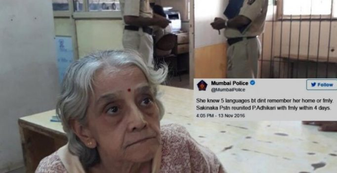 Mumbai police lauded on Twitter for reuniting elderly woman with family