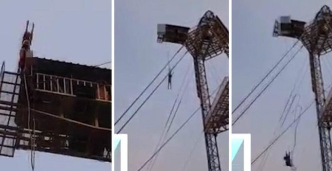 Terrifying moment South Korean woman's bungee rope breaks during a 140ft fall