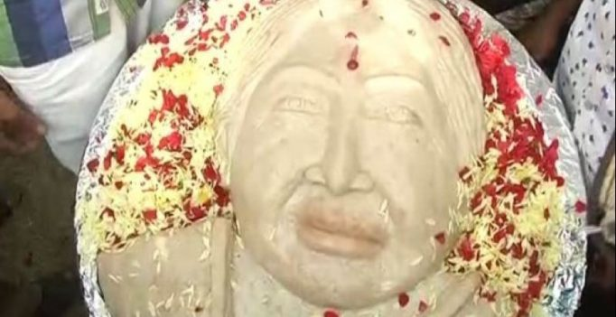 Chennai: Jayalalithaa's fans create 68 kg idli engraved with her face