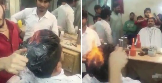 Video: Pakistani hairstylist lights hair on fire to style hair