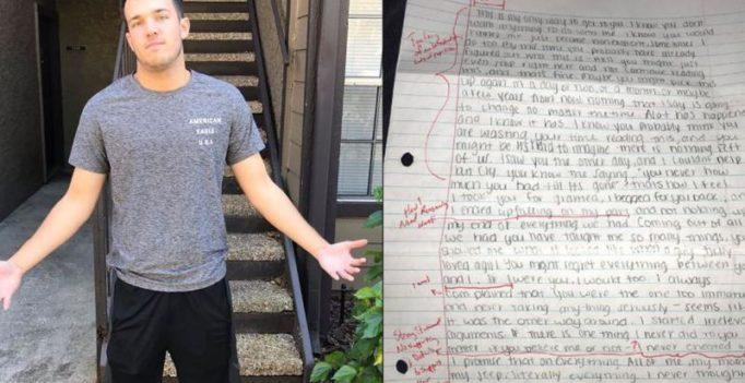 Guy shares ex-girlfriend's apology letter – after grading it