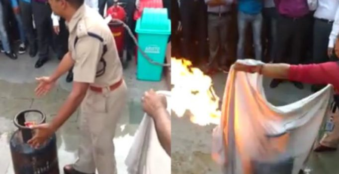 Video: Delhi cop shows how to stop fire by LPG cylinders, goes viral