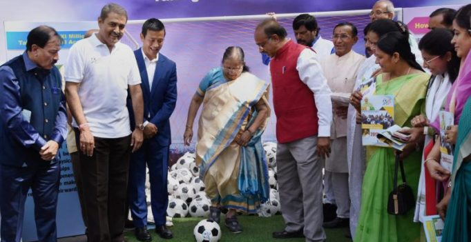 Lok Sabha speaker presents footballs to MPs to promote FIFA U-17 World Cup
