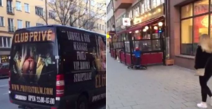 Video: Boy crashes bike into shop after seeing adult ad on van