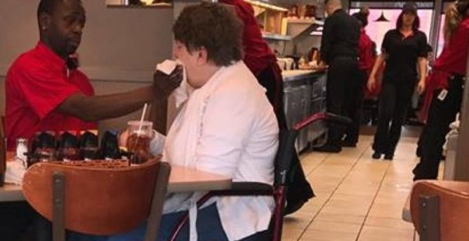 Server feeding disabled woman at diner is the kindest thing you will see today