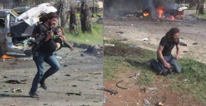 Images of Syrian photographer carrying injured child, breaking down go viral