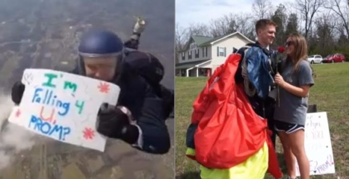 Video: Boy jumps from plane to ask a girl out on a date