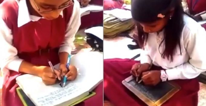 Video: All 300 students have ability to write with both hands in MP school