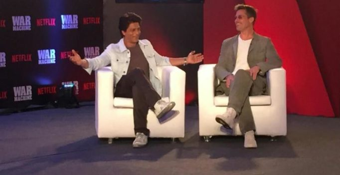 Brad Pitt lands in Mumbai; meets Shah Rukh Khan to promote his film War Machine