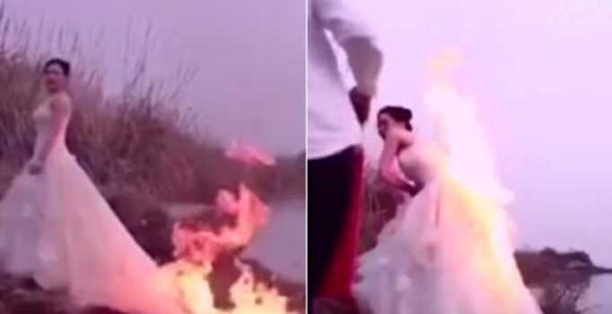 Woman lets photographer set her wedding dress on fire for 'perfect' photo