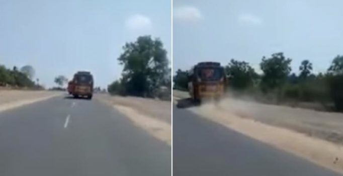 Video: Breathtaking race on Tamil Nadu highway between two buses