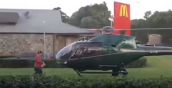 Video: Man lands helicopter near McDonald's because he was hungry