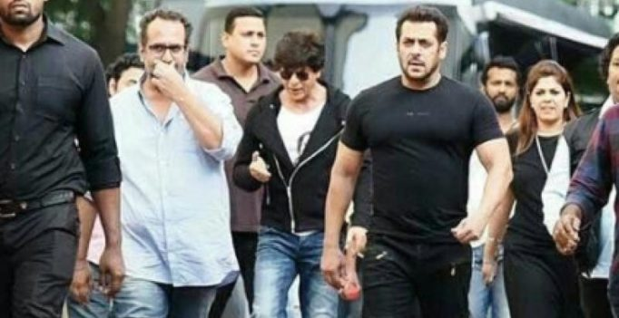 Snapped: Shah Rukh and Salman Khan shoot together for Aanand L Rai's film