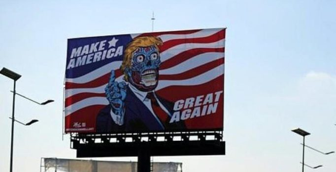 Artist depicts Donald Trump as alien on billboard in Mexico