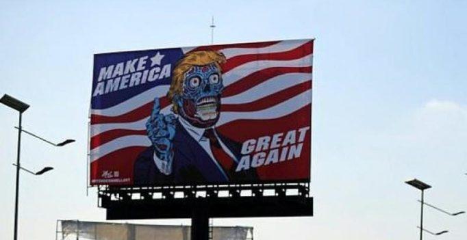Artist depicts Donald Trump as alien on billboard in Mexico