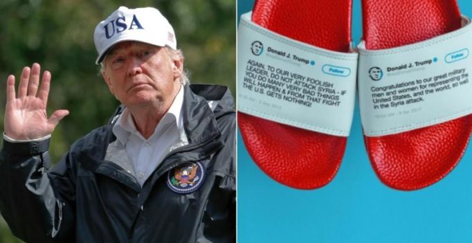 Now, a company is selling flip flops with Trump's controversial tweets