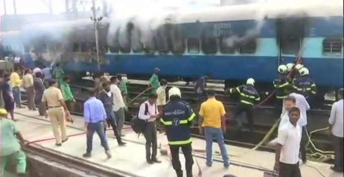 Fire erupts in coach of Solapur Express at CST railway yard in Mumbai