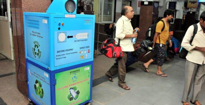 Indian railway show the way to crush plastic bottles, as part of CSR activities