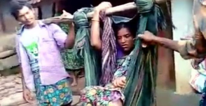 Pregnant Andhra woman carried on pole to hospital, delivers midway