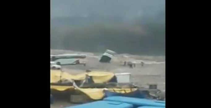 In video, tourist bus engulfed by flooded river near Himachal's Manali