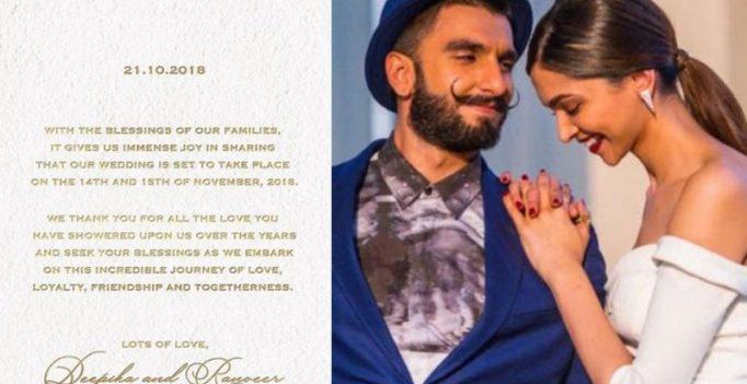 Badhaai Ho! Deepika Padukone, Ranveer Singh to tie knot on November 14-15